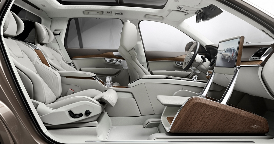volvo lounge console - the table with media screen for a full in-car theter experience