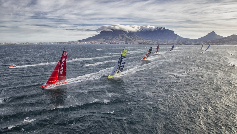 November 19, 2014. The fleet at the start of Leg 2 from Cape Town to Abu Dhabi.
