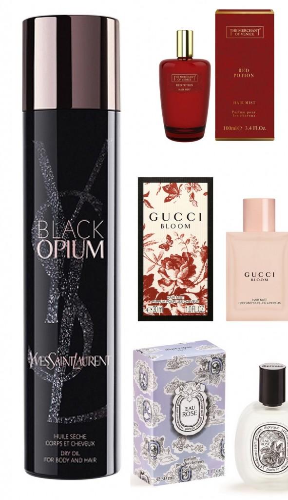 2 YSL Black Opium - Gucci Bloom Hair Mist -The Merchant Of Venice Red Potion Hair Mist - Diptyque Eau Rose Hair Mist