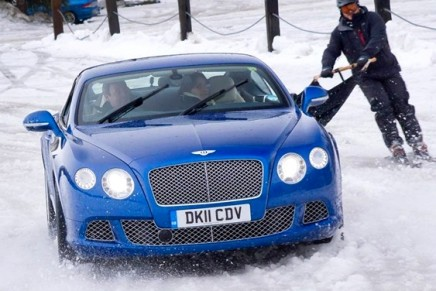 Skijoring with Zai for Bentley Supersports ski