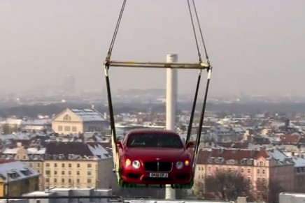 Flying Bentley Continental V8 coupe makes airlift debut