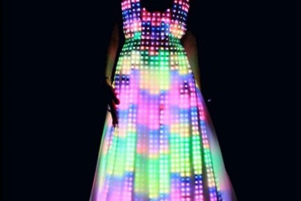 Aurora haute couture dress with LEDs technology