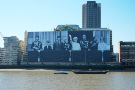 The largest ever photograph of the Royal Family displayed on future Mondrian London luxury hotel
