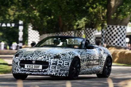 Jaguar F-Type roadster at speed