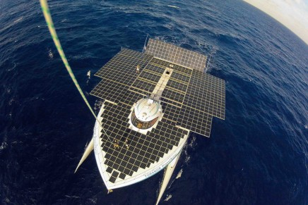 The first boat to travel around the world exclusively powered by solar energy heading to USA