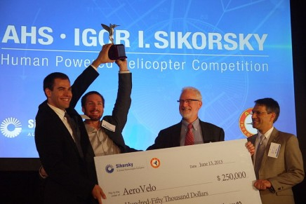 The long standing AHS Sikorsky Prize captured by Atlas human-powered helicopter