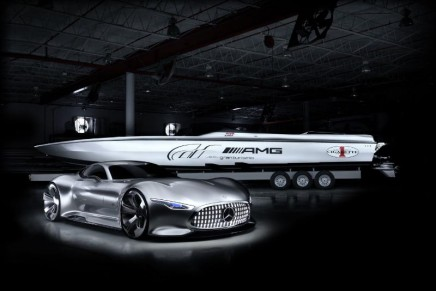 Mercedes-Benz AMG Vision Gran Turismo and Cigarette Racing 50′ Vision GT presented at 2014 Miami Boat Show