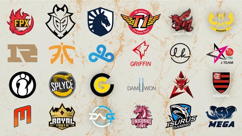2019 League of Legends World Championship Teams Logos