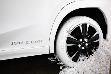 The custom Lexus UX tires inspired by John Elliott x Nike AF1 shoe