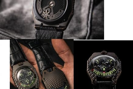 The scale-covered UR 100V T-rex has a feature that puts other watches into the dinosaur age