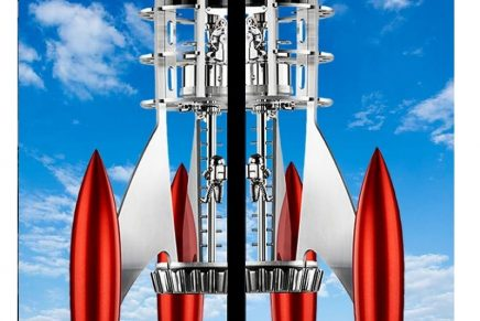Destination Moon Red – a high-end clock looking like an exciting science fiction rocket from the 1960s