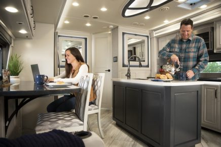 These new luxury motorhomes are replete with luxury appointments, including heated porcelain tiles and kitchen islands