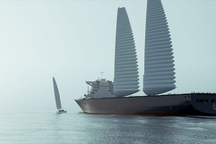 With these giant inflatable sails by Michelin the vessel uses less fuel and emits fewer CO2 emissions