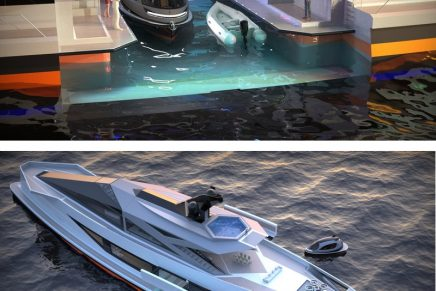 Saturnia multi-purpose superyacht doubles as a private port for tenders