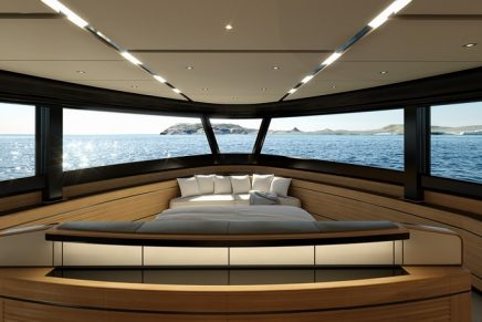 Wally WHY200, the first full-wide-body by Wally features a huge living room on the water