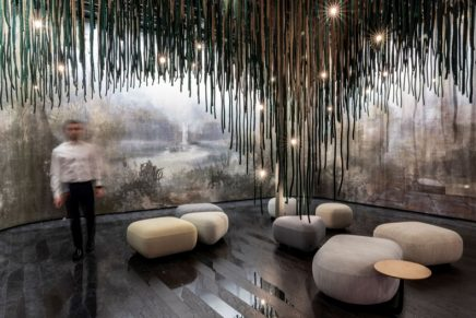 A wellbeing refuge, the Cave at CERSAIE 2021 is a concept for outdoor spa and wellness