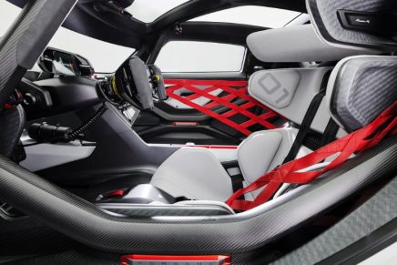 Carbon fibre has many merits, but recyclability is not one, says Porsche about its Mission R all-electric concept vehicle