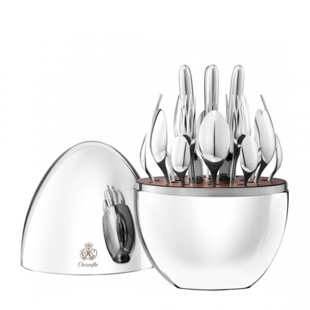 24-Piece Silver Plated Flatware Set with Storage Capsule - For Six People
