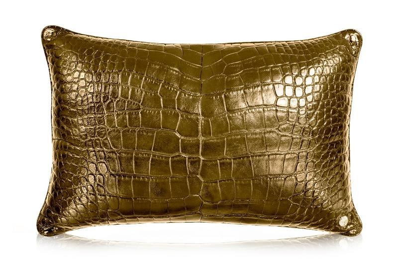 24kt Gold Porosus Alligator Pillow-