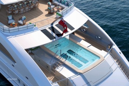 Fast displacement seventy. 70m Heesen Kometa is coming with 357 square metres of deck space and infinity pool with a waterfall