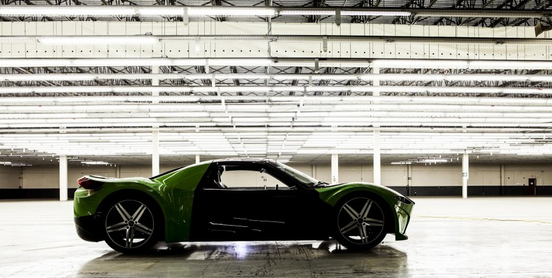 800 Horsepower Tomahawk electric car set for 2018 production-indoor