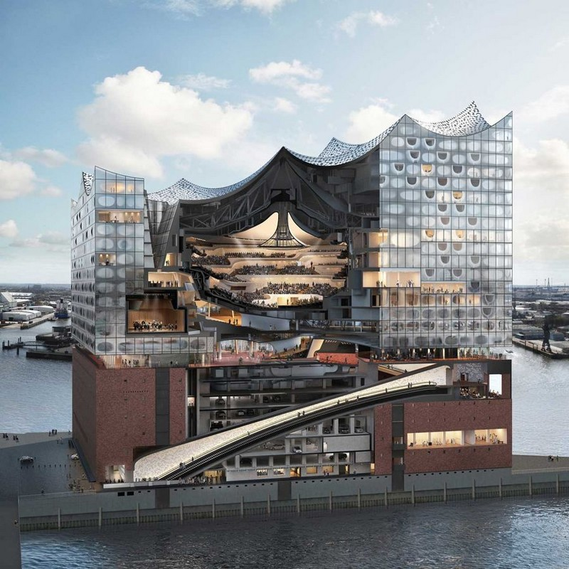 A cross-section of Hamburg's new concert hall, the Elbphilharmonie