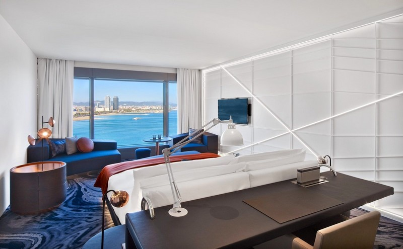 A newly renovated Fabulous Room with sweeping views of the Mediterranean at W Barcelona