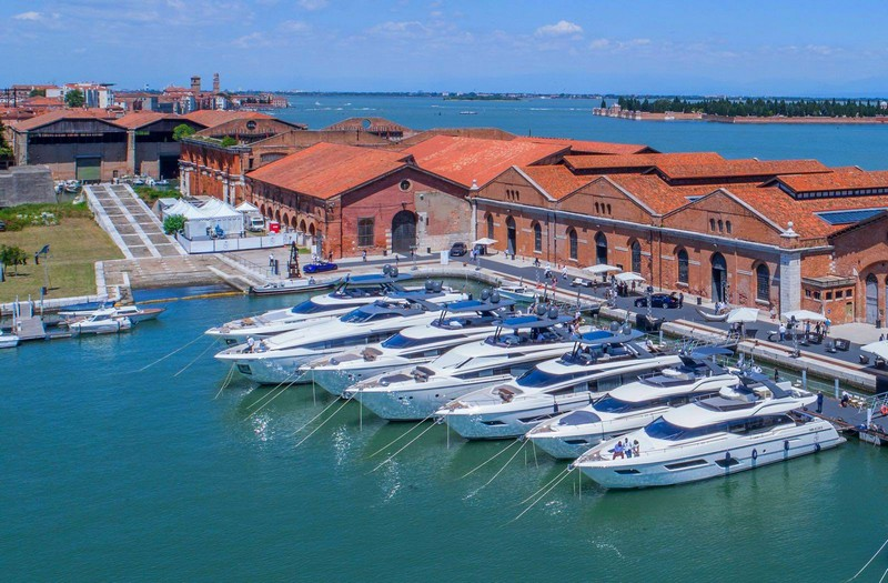A prestigious line-up of spectacular boats by Ferretti Yachts on parade at our 50th anniversary event in Venice