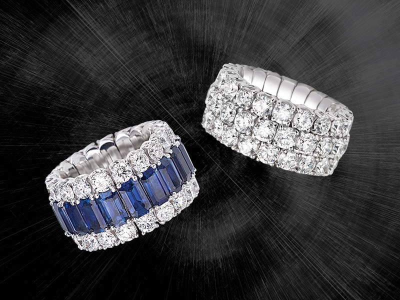 A sapphire and diamond ring and a round brilliant-cut diamond ring from the Xpandable