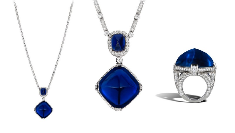 A superb 60 carat sugarloaf cabochon Burma sapphire set atop an intricate diamond pavé ring