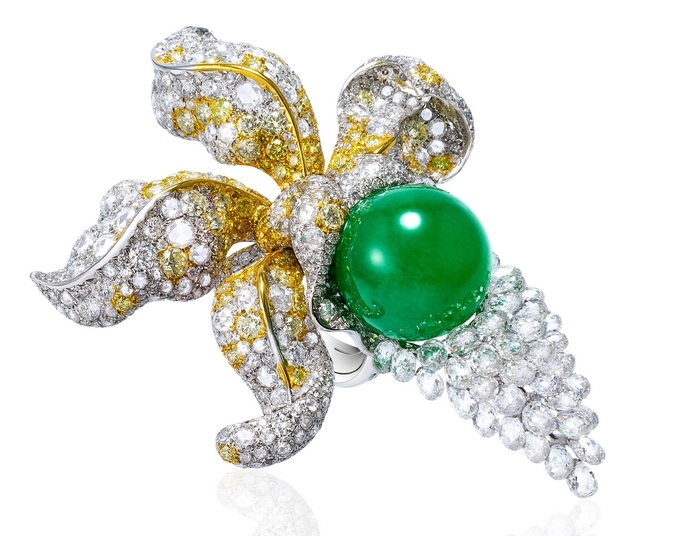ANNA HU Enchanted Orchid Ring in Jade