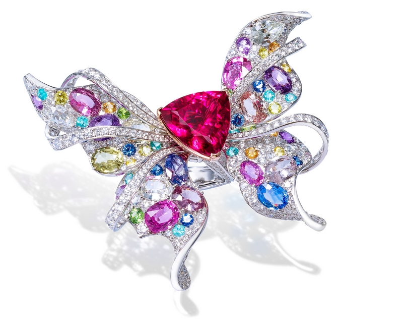 ANNA HU Le Papillon Ring in Rubellite