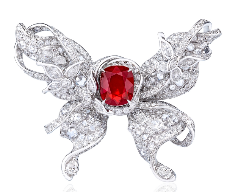 ANNA HU Le Papillon Ring in Ruby - front
