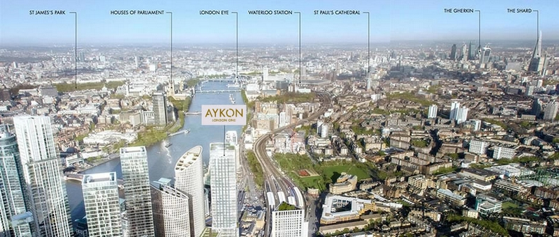 AYKON London One interiors by Versace - aerial map