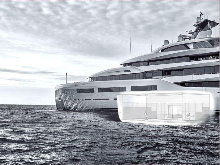 Abeking & Rasmussen Aviva Yacht-tennis court renderings