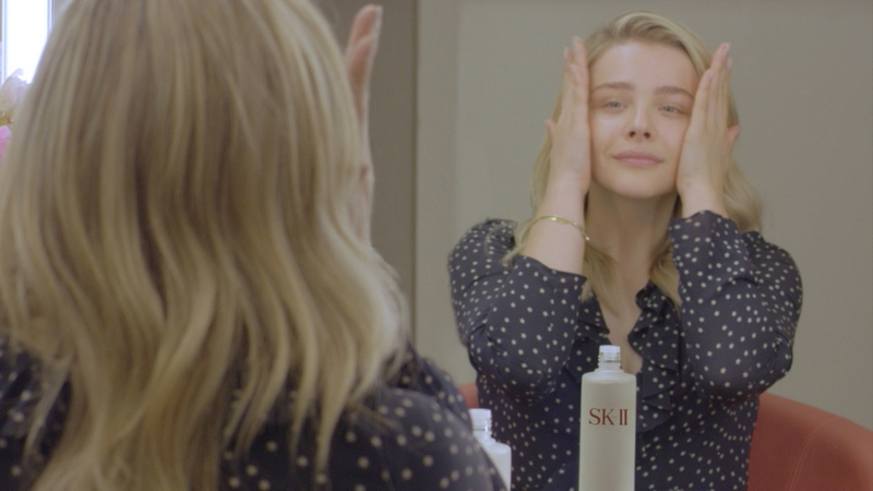 Actress Chloe Grace Moretz shared her journey of getting bare skin ready with SK-II-02