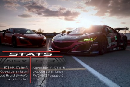 Similarities and differences of production Acura NSX and race-bred NSX GT3 Evo