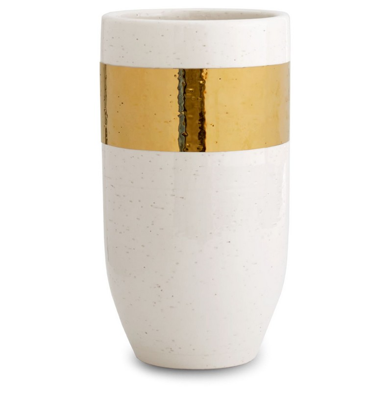 Aerin Large Gold Banded Ceramic Vase with 18 karat gold edging