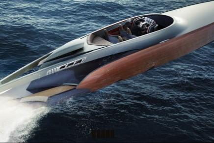 Aeroboat with the Spirit of Spitfire. A British-built luxury speedboat.