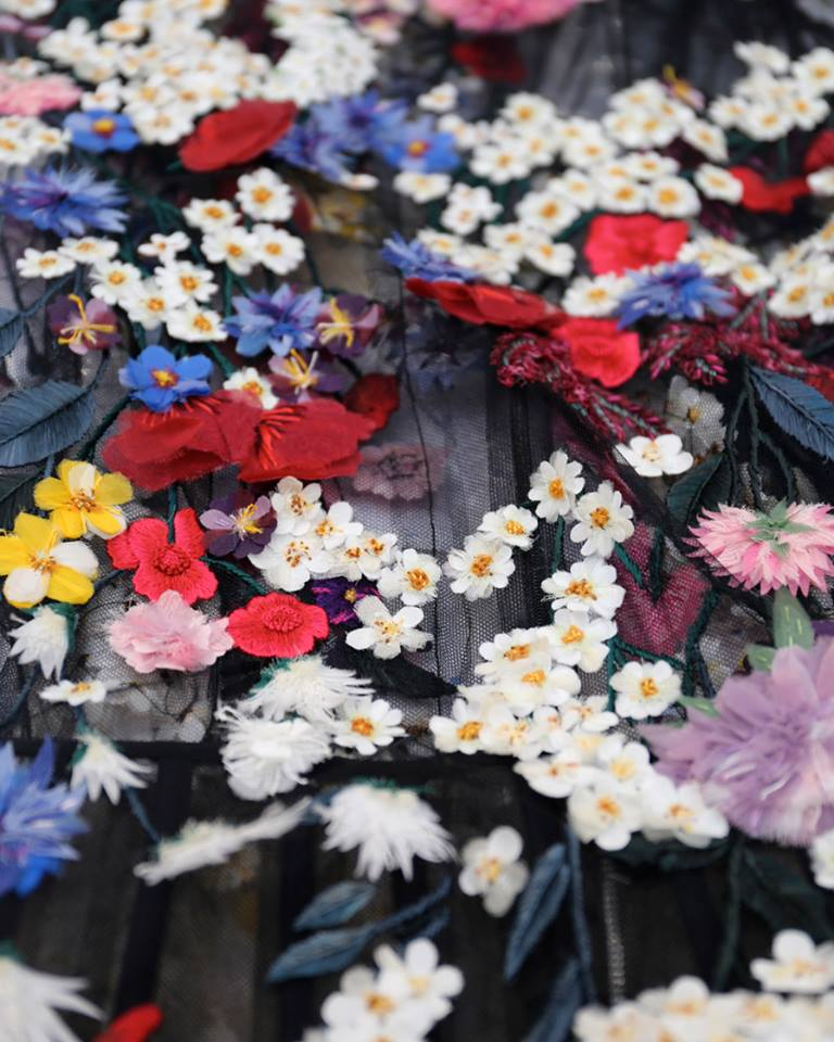 Alexander McQueen 3-D hand-dyed Shetland wild flowers