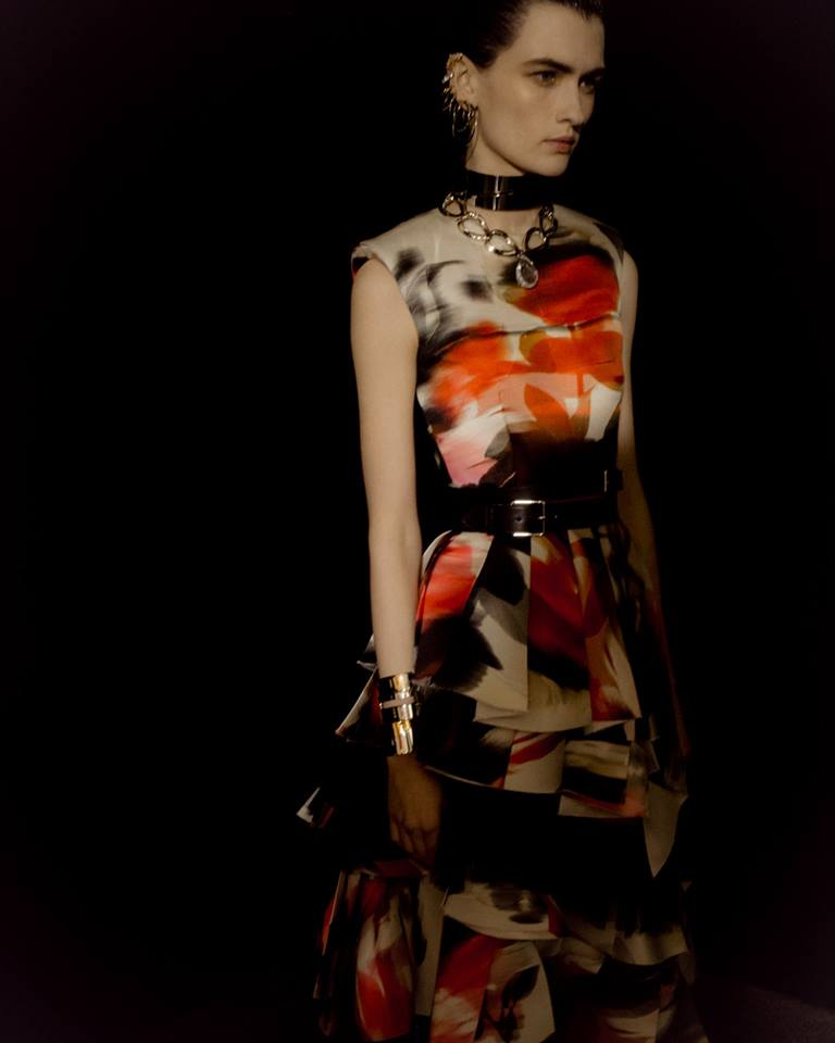 Alexander McQueen Autumn-Winter 2019- 2020 show - deconstructed, pleated print dress is inspired by floral photography and post-punk posters
