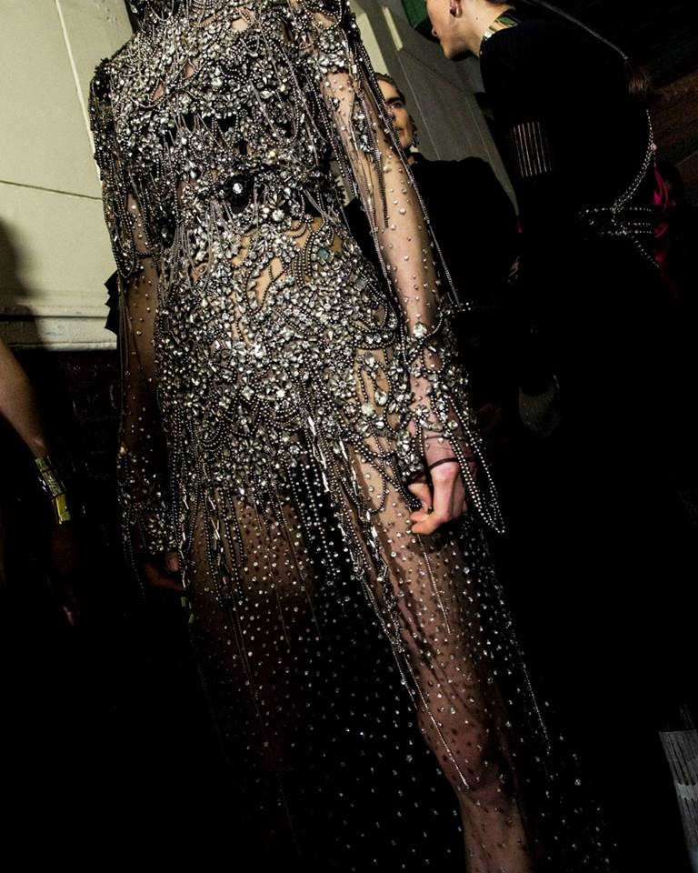 Alexander McQueen Autumn-Winter 2019- 2020 show - sheer black tulle embroidered dress is inspired by machinery