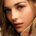 Amber Anderson with a flawless soft-matte complexion created by the Burberry Cashmere Foundation