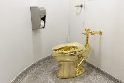 Your chance to feel very flush: the 18-carat golden toilet hits Britain
