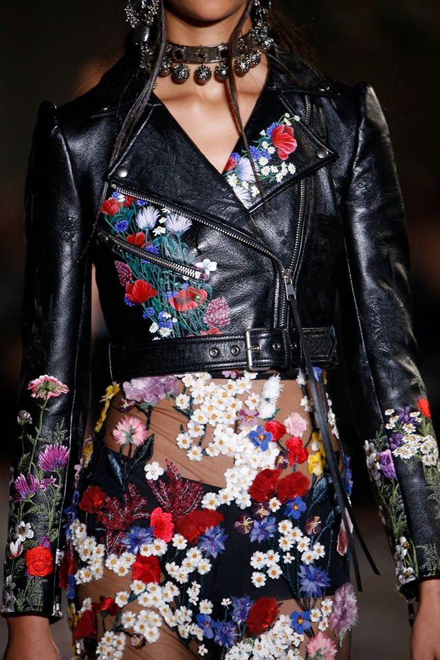 An SS17 hand-painted floral leather biker jacket