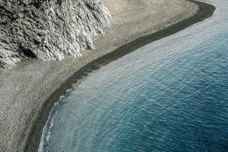 An aerial view of Man O'War Beach, Dorset