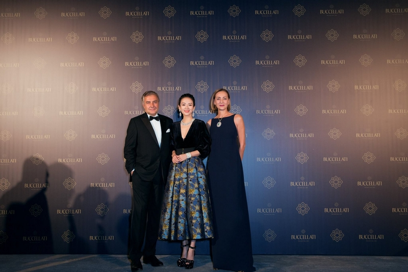 Andrea Buccellati and Maria Cristina Buccellati with brand ambassador Zhang Ziyi at the Gala Dinner at the Shanghai Exhibition Centre
