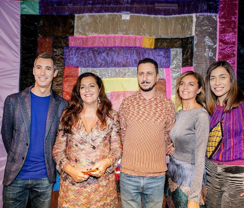 Angela Missoni poses with Paolo Kessisoglu, Luca Bizzarri, Sabrina Donadel e Ludovica Frasca at Missoni Summer 2018