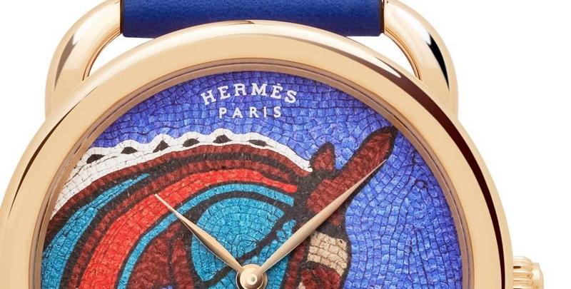 Arceau Robe du soir watch - Leather mosaic from Hermès-details