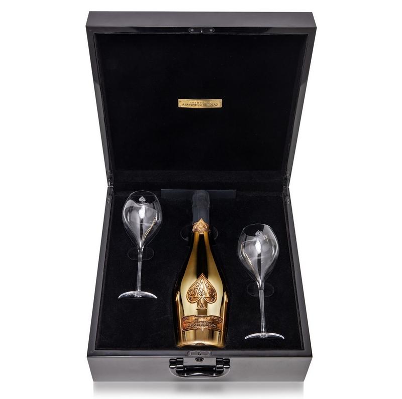 Armand de Brignac Brut Gold Champagne and Flutes Set